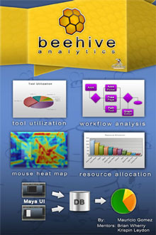 <table>	 				<tr> 					<td class='portTip'> 						Beehive is an unobstrusive tool I did for the Walt Disney Animation Studios that attaches in run time to Autodesk Maya QT binaries to log the user interface events to analyze them and show all sorts of reports and charts in a web component. Due to it's architechture it brings great benefits to programmers and can be easily portable to any other software that uses QT. <br/><br/> 					</td> 				</tr> 				<tr> 					<table>	 						<tr> 							<td class='bold'> 								Languages: 							</td> 							<td class='portTip'> 								Python, PHP, JavaScript, TSCH Scripting and PL/SQL. 							</td> 						</tr> 						<tr> 							<td class='bold'> 								Libraries:  							</td> 							<td class='portTip'> 								Fussion Charts, QT and jQuery. 							</td> 						</tr> 						<tr> 							<td class='bold'> 								Tools:  							</td> 							<td class='portTip'> 								MySQL. 							</td> 						</tr> 					</table> 				</tr> 			</table>